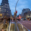 Famous Passeig de Gracia in Barcelona at dusk - Stock Photo