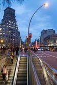 Famous Passeig de Gracia in Barcelona at dusk — Stock Photo