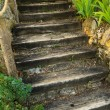 Old wooden stairs outdoors — Stock Photo