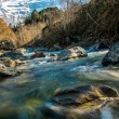 Fast little river in mountain forest — Stockfoto