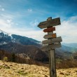 Stock Photo: Hiking trails signs in mountains