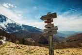 Hiking trails signs in a mountains — Stock Photo