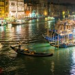 Gondolas on Grand Canal at night — Stock Photo