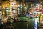Gondolas on Grand Canal at night — Stock Photo