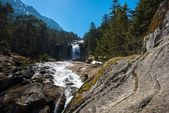 Fast river in mountain forest with little waterfall — Stock Photo