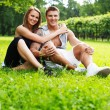 Beautiful sporty couple outdoors — Stock Photo
