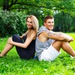 Beautiful sporty couple outdoors — Stockfoto
