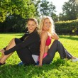 Two smiling athletic girls sitting on a grass in a park — Stock Photo #29115501