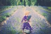 Woman in lavender field — Stock Photo