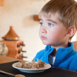 Boy with plate — Stock Photo