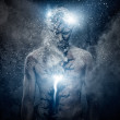 Man with conceptual spiritual body art — Stock Photo #32415833