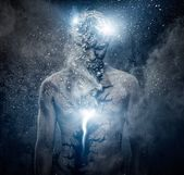 Man with conceptual spiritual body art — Stock Photo