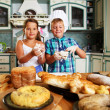 Happy children cooking homemade pastry — Photo