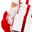 Santa Claus with gift boxes isolated on white background — Foto de Stock