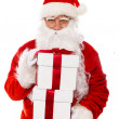Santa Claus with gift boxes isolated on white background — Stock Photo