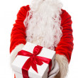 Santa Claus presenting gift box isolated on white background — Stock Photo
