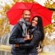 Happy middle-aged couple with umbrella outdoors on beautiful rainy autumn day — Stock Photo