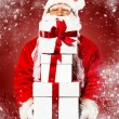 Santa Claus with gift boxes  — Stock Photo