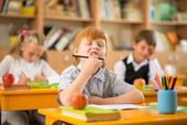 Funny redhead boy in school — Foto Stock