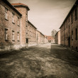 Stock Photo: Barracks in former Nazi concentration camp Auschwitz I, Poland