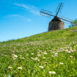 Old windmill on a beautiful flower hill — Stock Photo