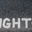 Turn right sign on an asphalt — Stockfoto