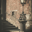 Steps with vintage lamppost in Gdansk, Poland — Stock Photo