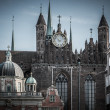 View over old cathedral in Gdansk city, Poland — Stock Photo