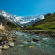 Fast river in Cirque de Gavarnie valley, France — Stockfoto