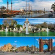 Set of three Barcelona attractions panoramas  — 图库照片