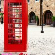 Stock Photo: Traditional british red phone booth