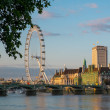 London Eye on Thames river at sunset — Stockfoto
