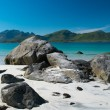 Rocks on beautiful sandy beach on Lofoten islands, Norway — Foto Stock