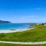 Beautiful sandy beach panorama on Lofoten islands, Norway — Stock Photo
