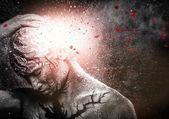 Man with conceptual spiritual body art — Stock Photo