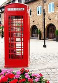 Traditional british red phone booth — Stock Photo