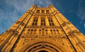 Westminster abbey tower against sky in London, England — Stock Photo