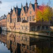Houses along canal in Bruges, Belgium — Stock Photo