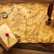 Quill pen, compass and envelope on old map over wooden background — Stock Photo #38757771
