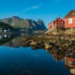 Traditional wooden houses against in Reine village, Norway — Stock Photo #39147801