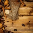 Coffee theme still-life with copy-space on wooden table — Stock Photo
