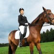 Cheerful young woman ridding horse in a field — Stock Photo #40275571