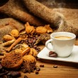 Coffee theme still-life on wooden table — Stock Photo #40276251