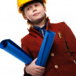 Little boy with plans and toolbox playing engineer role — Stock Photo #41476851