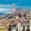 Cathedral view over rooftops of old town Girona, Spain — Stock Photo