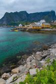 Traditional wooden houses in Reine village, Norway — ストック写真