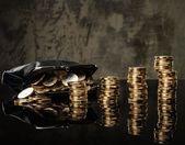 кошелек с много монет евро — Стоковое фото