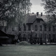 Main entrance to former Nazi concentration camp Auschwitz I, Poland — Stock Photo