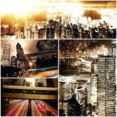 Modern city at night time collage  — Stock Photo