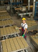 Young worker near conveyor belt with paving stone  on a factory   — Stock Photo